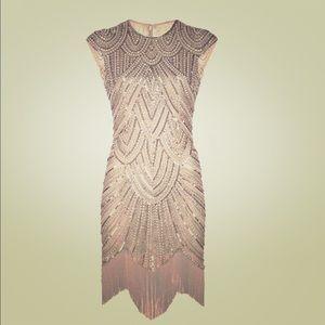 Beaded Gatsby Flapper Dress, Headwrap, & Bracelet